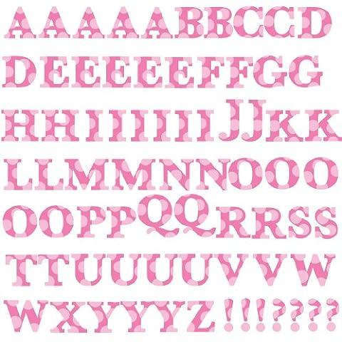 Jomoval RoomMates - Sticker da parete per bambini, riposizionabili, con lettere rosa, importato da Regno Unito