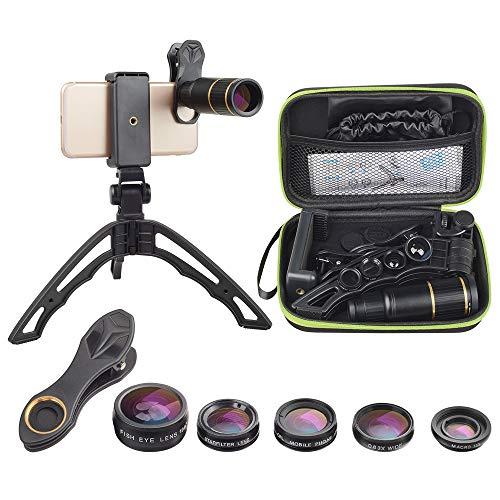 Apexel Handy Kamera Lens Kit, 6 in 1 Universal 16x Zoom Teleobjektiv, Fisheye, Weitwinkel & Makro, CPL, Sternfilter, Stativ für iPhone Huawei Samsung Android und Telefon