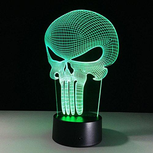 3D phantom nachtlicht, punisher maske moderne LED tischlampe tischlampe 7 farbe farbwechsel schaltschalter USB lade beleuchtung schlafzimmer dekoration lampe Nachtlicht