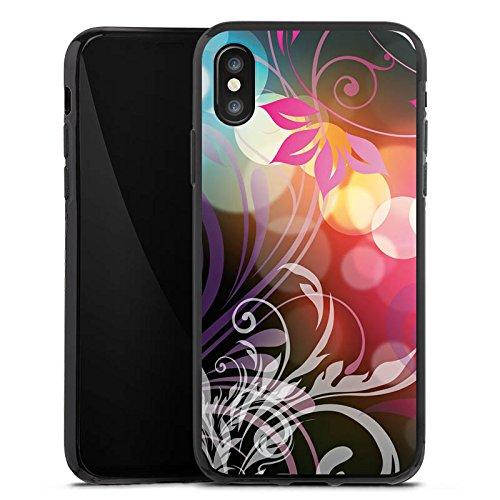Apple iPhone X Silikon Hülle Case Schutzhülle Blumen Bunt Floral Silikon Case schwarz