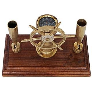 Stiftehalter Schreibtisch Kompass Steuerrad Schiff Maritim Nautik Antik-Stil