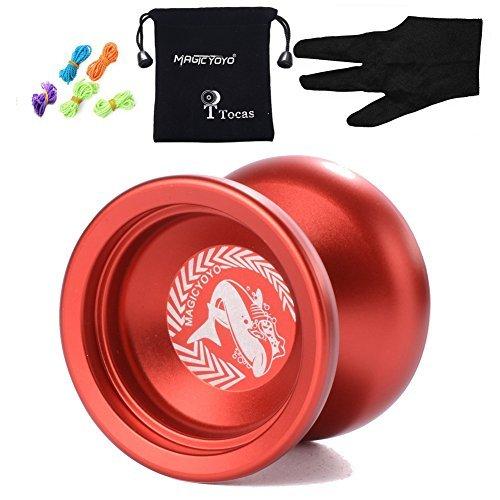 MagicYOYO N12 Shark Honor Professional Nicht reagierende YoYo mit Tasche + 5 Strings + Handschuh für Geschenk Spielzeug, Metall, Rot