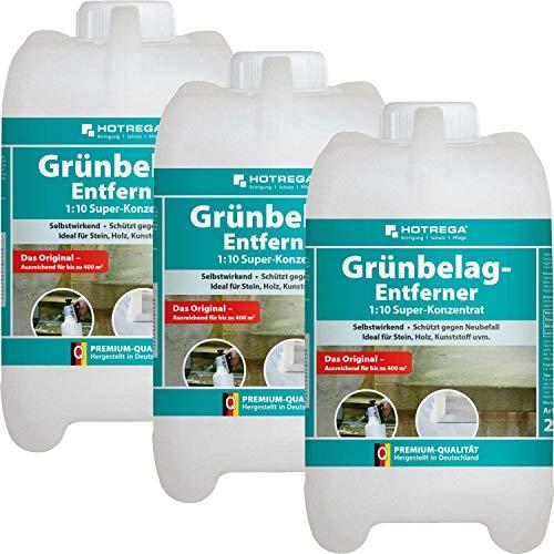 3 x HOTREGA Grünbelag-Entferner Maxi-Pack 2000ml Kanister