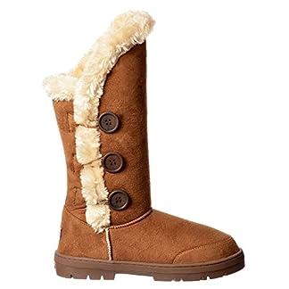 Ella Triple +3 Button Fur Lined Flat Winter Boot Faux Suede - Chestnut Brown, Black, Grey, Dark Brown 4