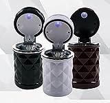 KFZ Aschenbecher mit Halterung und Deckel für die Lüftungsgitter + LED Blau PKW Beleuchtung Auto Autoaschenbecher in 3 Farben Weiß/Schwarz/Bordeaux (Bordeaux)