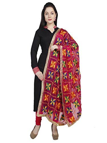 Dupatta Bazaar Woman's Pink Phulkari Embroidery Chiffon Dupatta