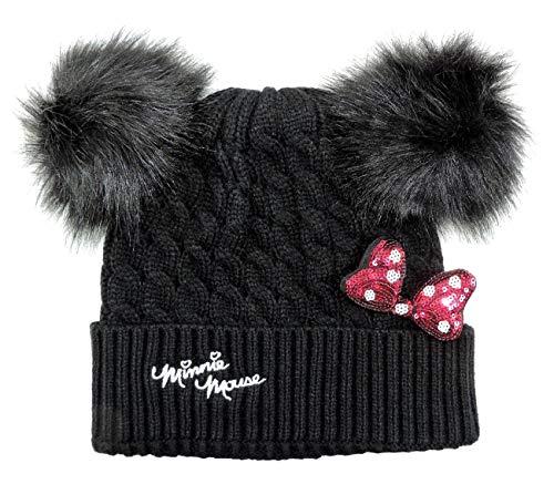 Cappello invernale bambina minnie disney con orecchie pon pon e fiocco 3d cuffia inverno bimba