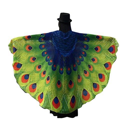 Chiffon Umschlagtücher, ESAILQ Damen Schöner Chiffon Schmetterling / Pfau Flügel schal überwurf Fairy Damen Nymphe Pixie Kostüm Zubehör 197 x 125CM (Grün-1)