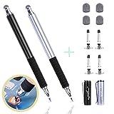 aibow Kapazitive Eingabestifte Touchstift Stylus Touch Pen für Smartphone & Tablets [2 Stück dünne Spitze Disc & Fiber ] mit 4X Disc Tipps & 4X Fiber Tipps (Black/Silver)