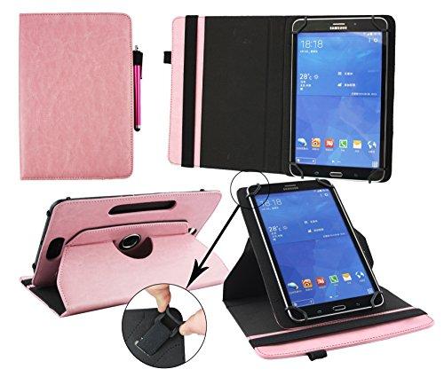 Emartbuy® Allview WI7 Android 7 Zoll Tablet Universal ( 7 - 8 Zoll ) Baby Rosa Premium PU Leder 360GradrotierendeStandFolioGeldbörseTascheHülle + Rosa Eingabestift