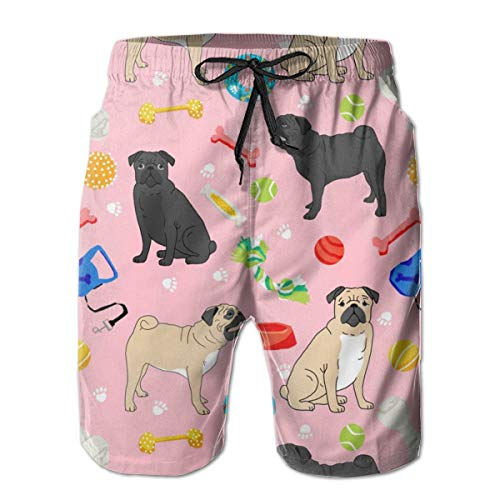 hulili Men's Quick Dry Swim Trunks Pugs and Toys Black and Tan Pugs with Dog Toys Pink Colorful Beach Shorts with Mesh Lining -