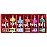 6Pcs/set Boîte À Musique en bois Carousel Cheval Vintage Mini pendentif en sapin de Noël Cadeau d'anniversaire Noël pour enfants