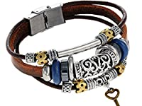 Boho Leather & Suede Bracelet with Stainless Steel Beads and Key Charm - Brown