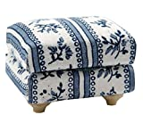 1/12th Scale Blue Dolls House Furniture Footstool