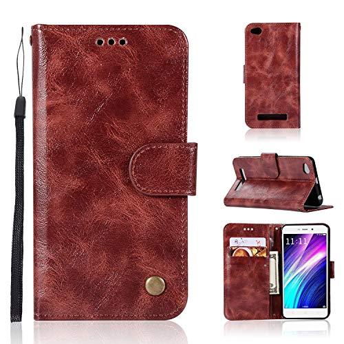 3616a93e042 BINISSCQIRITHLL Funda de Cuero para Xiaomi Redmi 4A Cartera de Cuero de  Lujo con diseño Retro Flip (Color : Wine Red)