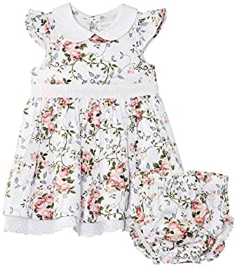 Pumpkin Patch Baby Girls Rose Print with Knickers Short Sleeve Dress, White (Milk), 6-12 Months