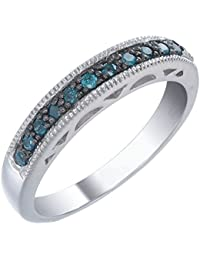 Sterling Silver Blue Diamond Wedding Band (1/2 CT)