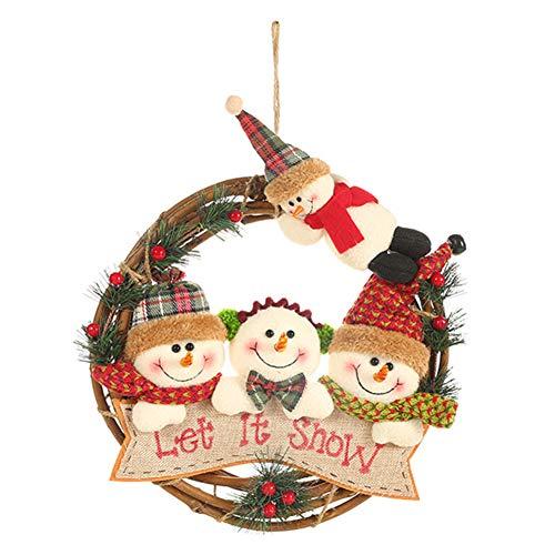 tWUJl4SXJ Weihnachtskranz Ornamente Weihnachtsmann Schneemann Elch Rattan Ring Weihnachtsbaum Tür Anhänger 2