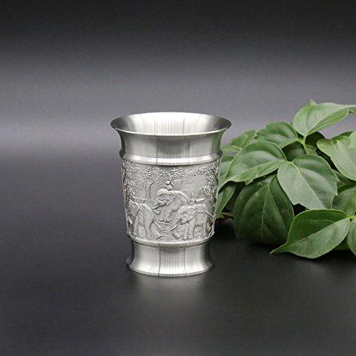 Oriental Zinn–Zinn baijiu Cup w/grifflosen für Spirituosen (Dose klein)–Pure 97% bleifreies Zinn BB8handgefertigt in Thailand