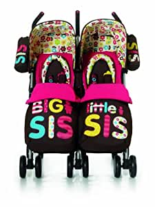 Cosatto Supa Dupa Twin Stroller Big  and Little Sis - Pink