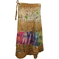 Mogul Interior Wrap Around Skirt Brown Embroidered Rayon Beach Summer Skirts