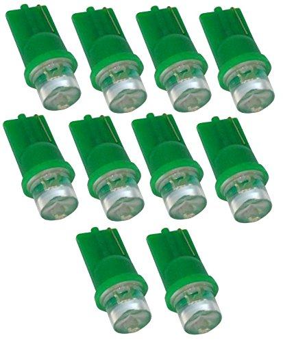 Aerzetix C1863X10 Ampoules LED Lumière Vert T10 W5W 12 V, Lot de 10