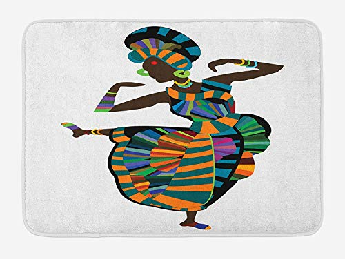 Bath Mat, Black Girl in a Traditional Dress Performing an Ethnic Dance Native Zulu, Plush Bathroom Decor Mat with Non Slip Backing, 23.6 W X 15.7 W Inches, Multicolor ()