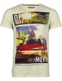 Dissident Mens Short Sleeve Photo Style Americana Open Road Print T shirt. Style - OPEN ROAD 1C3658