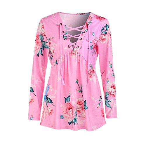 Manadlian Frau Mode Frau Beiläufig Floral bedruckt Straps Pullover V-Ausschnitt Langarmshirts Bluse in 4 Farben Lange Ärmel Bluse … (2XL, Rosa) (Floral Denim Verziert)