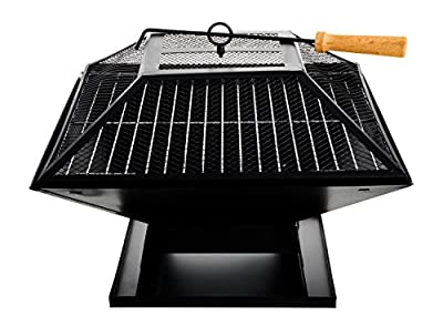 Livivo Square Outdoor Patio Fire Pit For Garden Camping Bbq Picnics Holiday Festivals Heater Log With Mesh Screen And Wooden Bbq Tool by Home Emporium UK