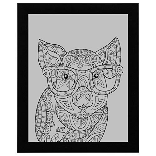 Männer Wandkunst Erwachsenen Färbung Pagebook Schwein Stil Kunst große Wandkunst 17 x 13 Zoll gerahmte Print Kunstdruck Vintage Wörterbuch Buch Zeitung Seite Kunstdruck Wandkunst hängen Wandkunst