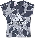 ADIDAS Mädchen Linear Print Kurzarm T-Shirt, Heather/Grey Five/White, 128