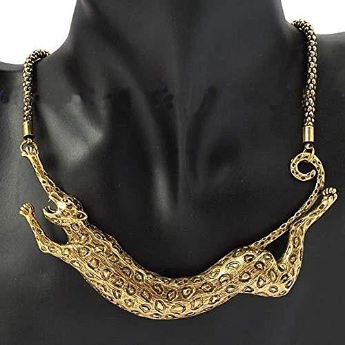 Ogquaton Mode Frauen Dating Schmuck Leopard Tier Design Vergoldet Anhänger Kragen Aussage Halskette Jewlery Geschenk Langlebig und nützlich -