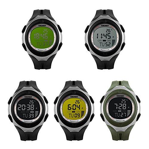 iLove EU 5pcs Set Herren Armbanduhr 50m Wasserdicht Digital LED Alarm Datum Uhr Sportuhr 5 verschienden Modellen
