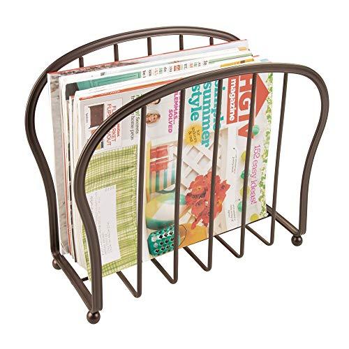 mDesign Porta giornali decorativi per riviste, libri o tablet - Porta riviste da terra per soggiorno o bagno - Elegante cesto per giornali in filo metallico - bronzo
