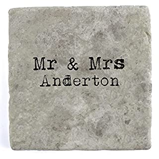 Mr & Mrs Anderton - Set of Four Marble Tile Drink Coasters