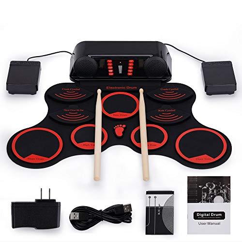 LuckyAnn Drum Kit Tragbares elektronisches Drum-Set mit Akku-Fußpedalen Drumsticks Built-In Lautsprecher Lautsprecher