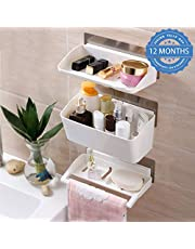 HOKIPO Self-Adhesive 3 Tier Bathroom Organizer with Towel Rail (White)