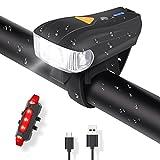 Fahrradlichte Set USB Automatische Lichteinstellung LED Fahrradbeleuchtung Set mit 5 Leuchtmodi Fahrradlampe Set inkl IPX6 Wasserdicht von MUBYTREE
