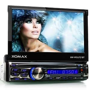 """XOMAX XM-2VRSU721BT Autoradio / Moniceiver + Écran tactile motorisé de 18 cm / 7"""", High Definition HD + Fichiers audio et vidéo : MP3 (tags ID3 inclus), WMA, MPEG4, AVI, DIVX, etc. + Fonction sans fil Bluetooth et reproduction musicale (A2DP) + Couleur d'éclairage : bleu + Sans lecteur CD + Port USB jusqu'à 32 GB! + Fente Micro SD jusqu'à 32 GB! + Tuner radio RDS + Connexion pour caméra recul + Connexion pour subwoofer + Dimensions standard DIN simple (1DIN) + Télécommande, tiroir métallique et cadre inclus"""