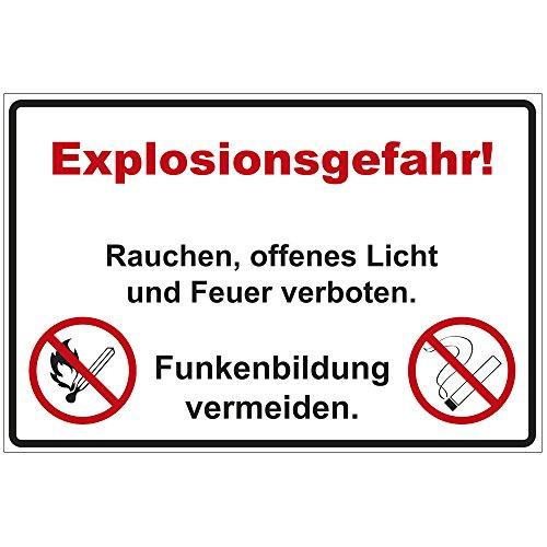 """Schild \""""Explosionsgefahr! Rauchen, offenes Licht und Feuer verboten.\"""" aus Alu / Dibond 200x140 mm - 3 mm stark"""