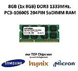unimega 8GB (1x 8GB) DDR3 1333MHz PC3-10600S 204PIN 1,5V SoDIMM Notebook Laptop RAM Speicher Memory mit Premium-Chips von Samsung, Hynix oder Micron (je nach Verfügbarkeit)
