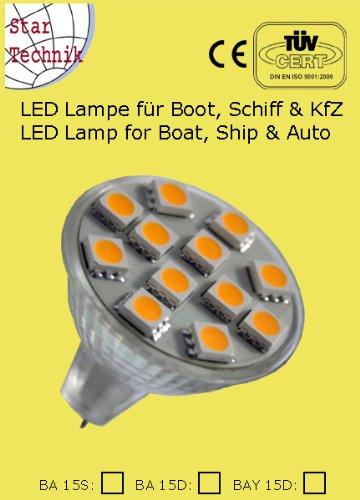 Lampeneinsatz: Reflektoren Lampe mit 15 SMD - Ersatz LED MR11 für GX4.0 GU4,0 Sockel - Verbrauch ~ 2,4W Abstrahlwinkel: 120° LED 15 Stück 5050 High brightWarm Weiß, CRI RA = 65 Lumen: 2800-3000K 140Lm Reflektor Stiftsockellampen, warm-weiß
