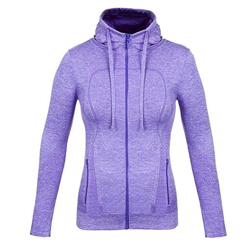 Fitibest Femmes Veste en Plein air Zip Vêtements de Sport Chemise de Sport Yoga Slim Sport Vestes de Sport Avec Trous de Pouce (L, Pourpre)