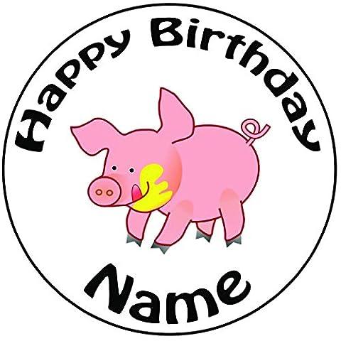 Personalisierter Cartoon Schwein Zuckerguss Kuchen Topper / Kuchendekoration - 20 cm Großer Kreis - Jeder Name Und Jedes Alter