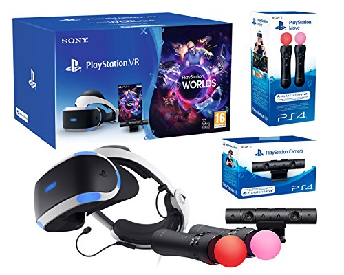 "Playstation VR ""Starter Plus Pack\"" + VR Worlds + Kamera V2 + Twin Move Kontrollers"