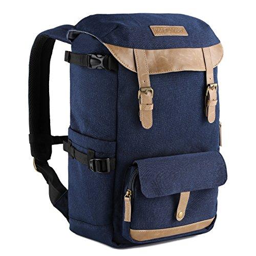 dslr rucksack K&F Concept® Kamerarucksack Rucksack Kamera Fotorucksack für Canon Nikon Sony SLR Spiegelreflexkamera mit Regenschutzhülle 16 Liter Blau