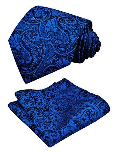 Alizeal Herren Paisley-Krawatte Einstecktuch Set 59