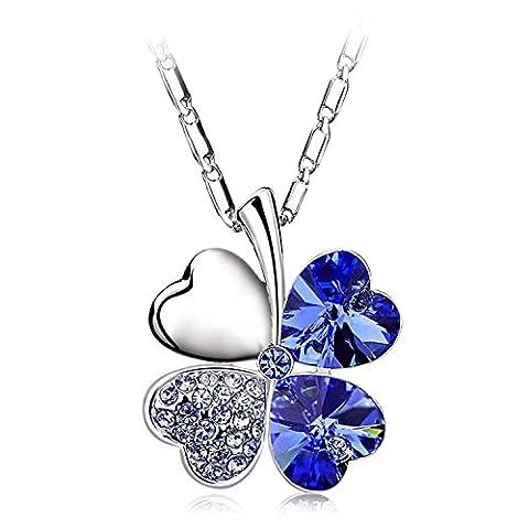 LUXURY – Collier pour femme et pendentif modèle QUADRIFOGLIO avec des cristaux autrichiens. Idée de cadeau pour la Saint Valentin, Noël, Fête des Mères