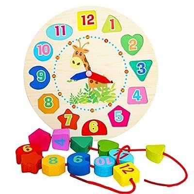 Ndier Juguete de Madera Reloj de geometría Digital Juguetes de Bloques de Madera Cuentas de Bricolaje Regalo de Juguete Un Conjunto de Ndier